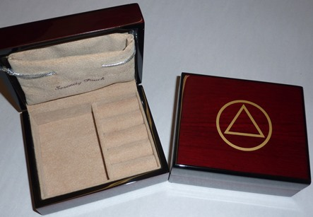 Image of AA Jewelry Box- Teakwood Lacquered Wood Box w/ AA Symbol and Pouch with