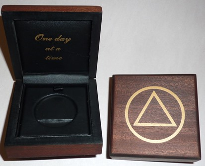 Image of AA Coin Box - Natural Finsih Wood Coin Box w/ AA Symbol 'One Day at a Time'